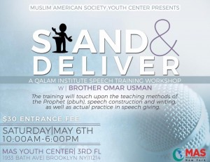 Join us on May 6th for a youth training , Stand & Deliver hosted by Qalam institute. It'll focus on efficient speech skills in khutba and in giving Halaqa. Both Mohamed Elshinawy and Mohamed Badawy attended this training in Pennsylvania and said it was amazing. It'll be held at our very own MAS-YC inshallah.  Lunch is included! The fee for this course is $30.  Any MAS members who wish to attend the training can reach out to Shafiq or Sara regarding the cost of admissions.